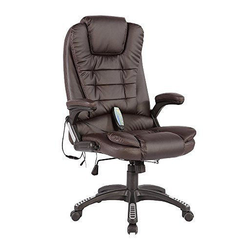 Uenjoy Executive Ergonomic Massage Chair Heated Vibrating Computer Office Desk