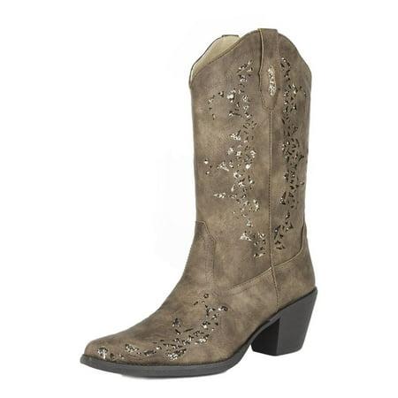 Roper Western Boots Womens Alisa Glitter B Brown 09-021-1556-0773