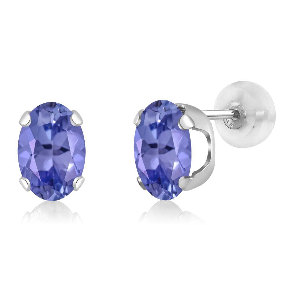1.50 Ct Oval 7x5mm Blue Tanzanite 14K White Gold Stud Earrings