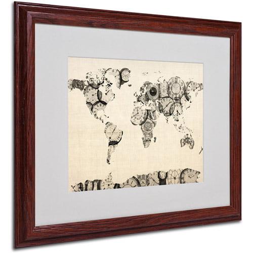 Trademark Art 'Old Clocks World Map' Matted Framed Art by Michael Tompsett