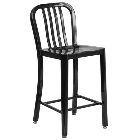 Flash Furniture 24'' High Metal Indoor-Outdoor Counter Height Stool with Vertical Slat Back, Multiple Colors