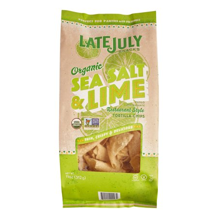 - (3 Pack) Late July Snacks Organic Restaurant Style Tortilla Chips Sea Salt & Lime, 11.0 OZ