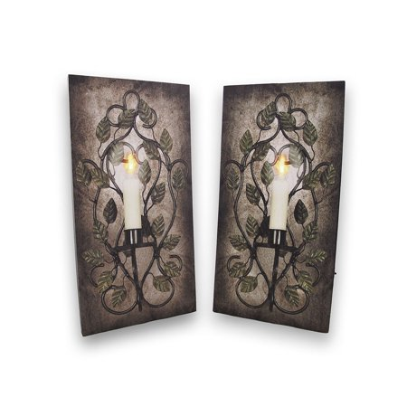 Pair of Flickering LED Sconce Canvases