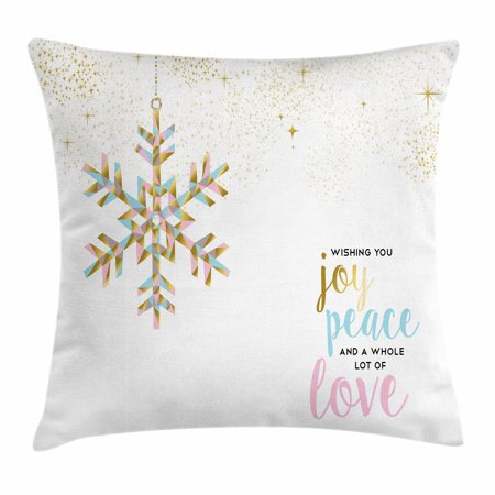 Joy Throw Pillow Cushion Cover, Christmas Pattern with Polygonal Snowflake with Peace Love Quote Ornate, Decorative Square Accent Pillow Case, 16 X 16 Inches, Gold Baby Pink Pale Blue, by Ambesonne ()