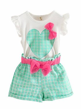 aaaf4aa7e Product Image 2Pcs Toddler Kids Flare Sleeve T-Shirt Tops+Shorts Baby Girls  Outfit Sets