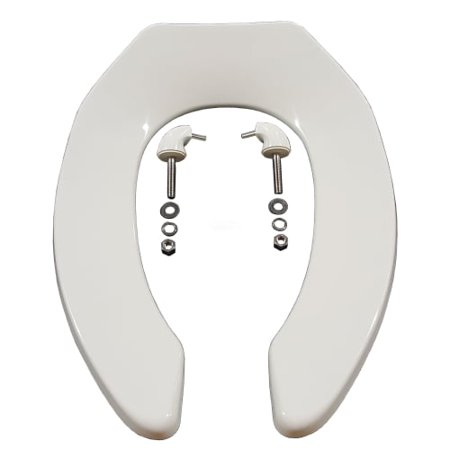 Front Check - Zurn Z5955SS-EL Elongated Standard White Open Front Toilet Seat Less Cover with Stainless Steel Check Hinge
