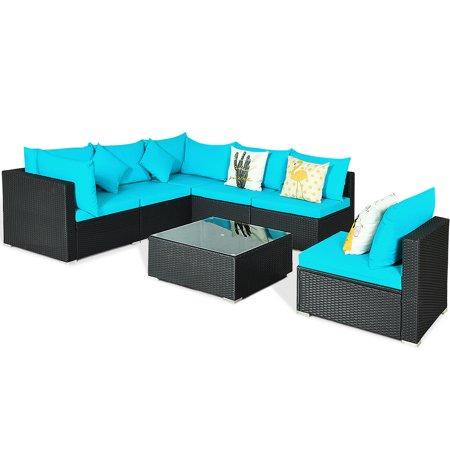 Gymax 7PCS Rattan Patio Conversation Set Sectional Furniture Set w/ Blue Cushion - image 7 of 10