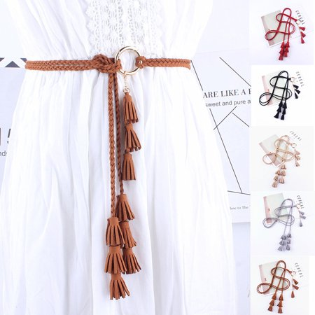 Women Tassel Braided Waist Belt Skinny  Knotted Decorated Belt for (Best Knot For Braid To Swivel)