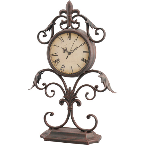 Stonebriar Collection Fleur De Lis Scrolled Tabletop Clock