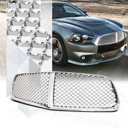 Glossy Chrome ABS 3D Wave Mesh Front Bumper Grille/Grill for 11-14 Dodge Charger 12