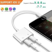 2 in 1 Lightning Headphone Jack and Charger Adapter for iPhone X 8 7 6 Plus, Converter AUX Female Audio and Charging Adaptor Cable Support Volume Control Call Sync Data