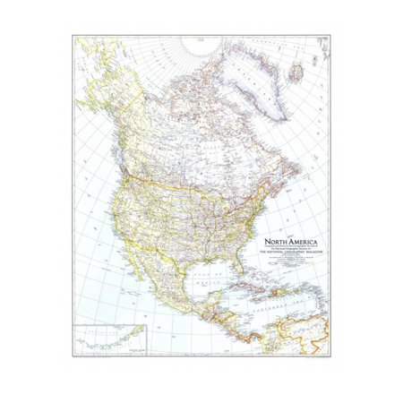 1942 North America Map Print Wall Art By National Geographic Maps