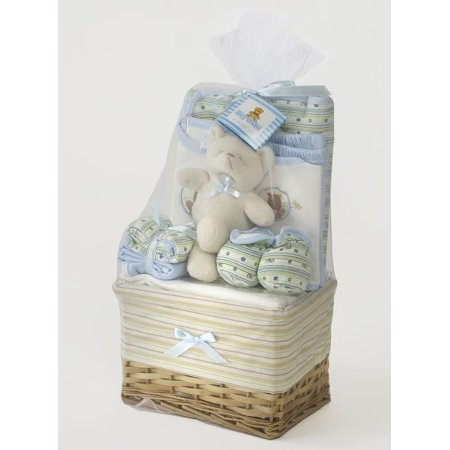 (Big Oshi Baby Essentials 10 Piece Layette Basket Gift Set-Color:Blue)