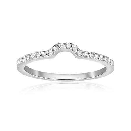 - 1/6cttw Diamond Curved Wedding Ring Guard Engagement Enhancer Band 14k Gold