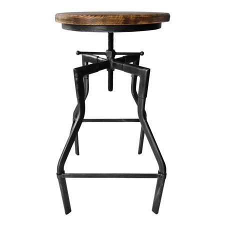 Asi Grab Bars - Amelia Industrial Adjustable Barstool in Silver Brushed Gray with Rustic Ash Wood Seat