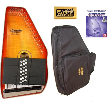 Sunburst Flame Maple Top (Oscar Schmidt 21 Chord Autoharp, Flame Maple Top, Honey Sunburst, OS11021FHS Bundle, OS11021FHS AC445PACK)