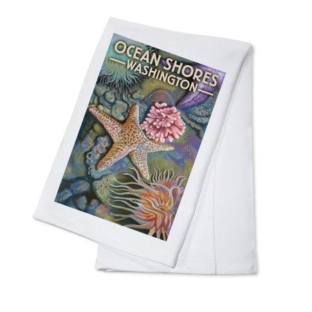 Ocean Shores, Washington - Tidepool - Lantern Press Artwork (100% Cotton Kitchen Towel)