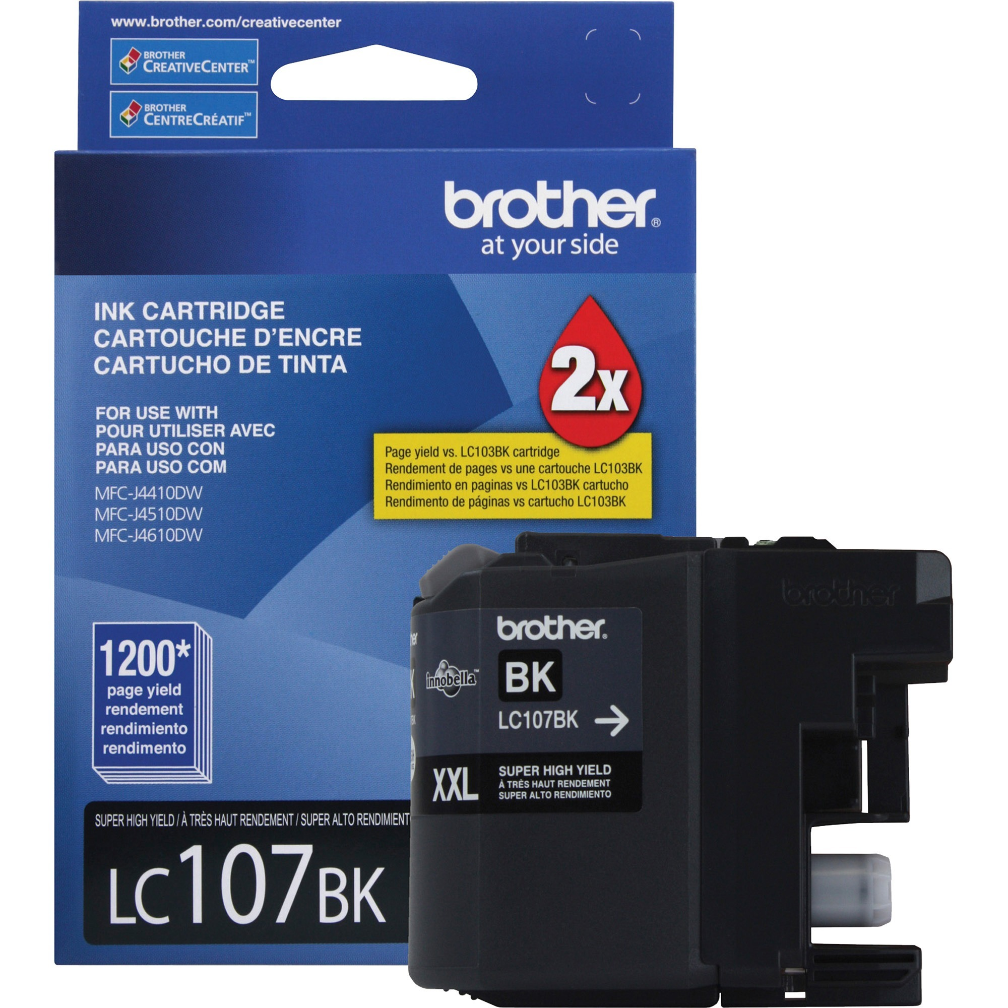 Brother LC107BK Innobella Super High-Yield Ink, Black