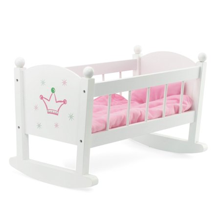 Baby Doll Cradle or Crib Rocking Furniture | Fits Baby Dolls and 18 Inch American Girl Dolls | Includes Mattress & Quilted - Doll Cradle Doll Furniture