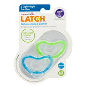 Munchkin Latch Natural Shape Newborn Pacifier, 0+ Months, Blue/Green - 2 Counts