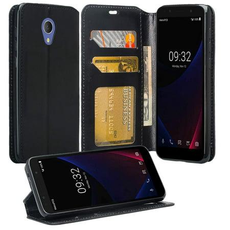 Alcatel Verso Case, Alcatel Tetra 5041C Case, Alcatel idealXCITE, Alcatel  CameoX, Raven LTE Case [Kickstand] Leather Wallet Case Cover ID & Credit