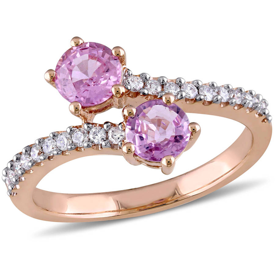 Tangelo 4 5 Carat T.G.W. Pink Sapphire and 1 5 Carat T.W. Diamond 10kt Rose Gold Two-Stone Ring by Tangelo
