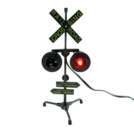 Railroad Crossing Signal Flashing Red Lights Desk Lamp RR Xing Train Sign