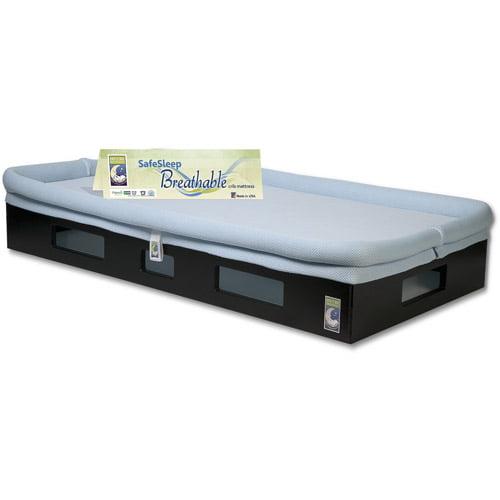 SafeSleep Breathable Crib Mattress, Espresso Base, Light Blue Surface