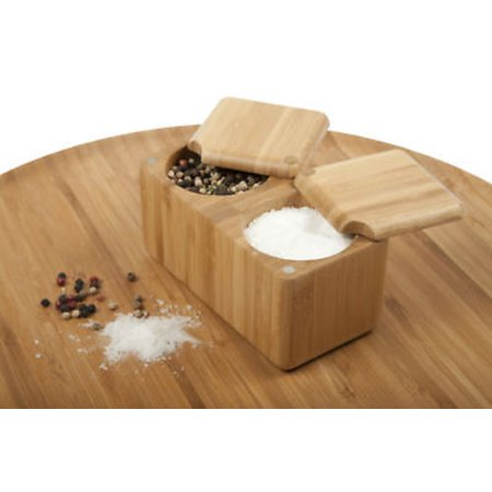 Core Bamboo Double Square Wooden Salt Box / Spice -