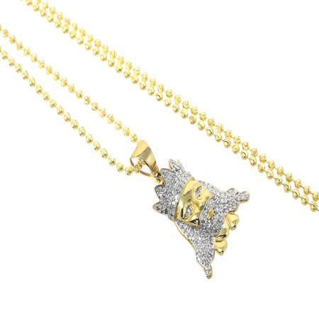 - Men's .30ctw Genuine Real Diamond Sterling Silver Yellow Gold Tone Jesus Chain Necklace