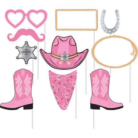 Pink Bandana Cowgirl Photo Booth Props, 10pk