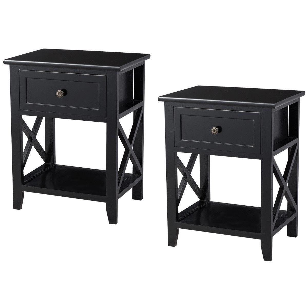 Costway 2PCS End Bedside Table Nightstand Drawer Storage Room Decor W/Bottom Shelf Black