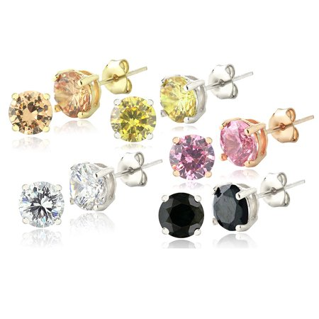 Set of Five Colors of Diamonds CZ Stud Earrings