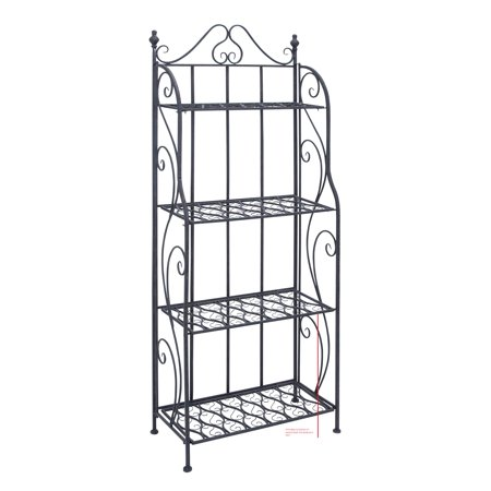 - Decmode 64 Inch Eclectic Four-Tiered Scrolled Iron Backer'S Rack, Black