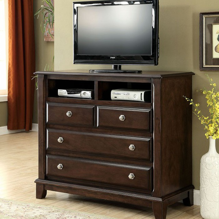 Litchville Transitional Style Media Chest, Brown Cherry Finish