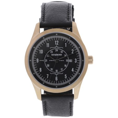 Aviator Watch, Stainless Steel Case and Leather Band for Men  Free Leather Wallet with Purchase Made in the USA - Rose Gold / (Watch The Aviator Free)