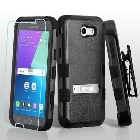 Ipod Holster (For Samsung Galaxy J3 Emerge 3-in-1 TUFF Hybrid Protector Cover Stand Holster )