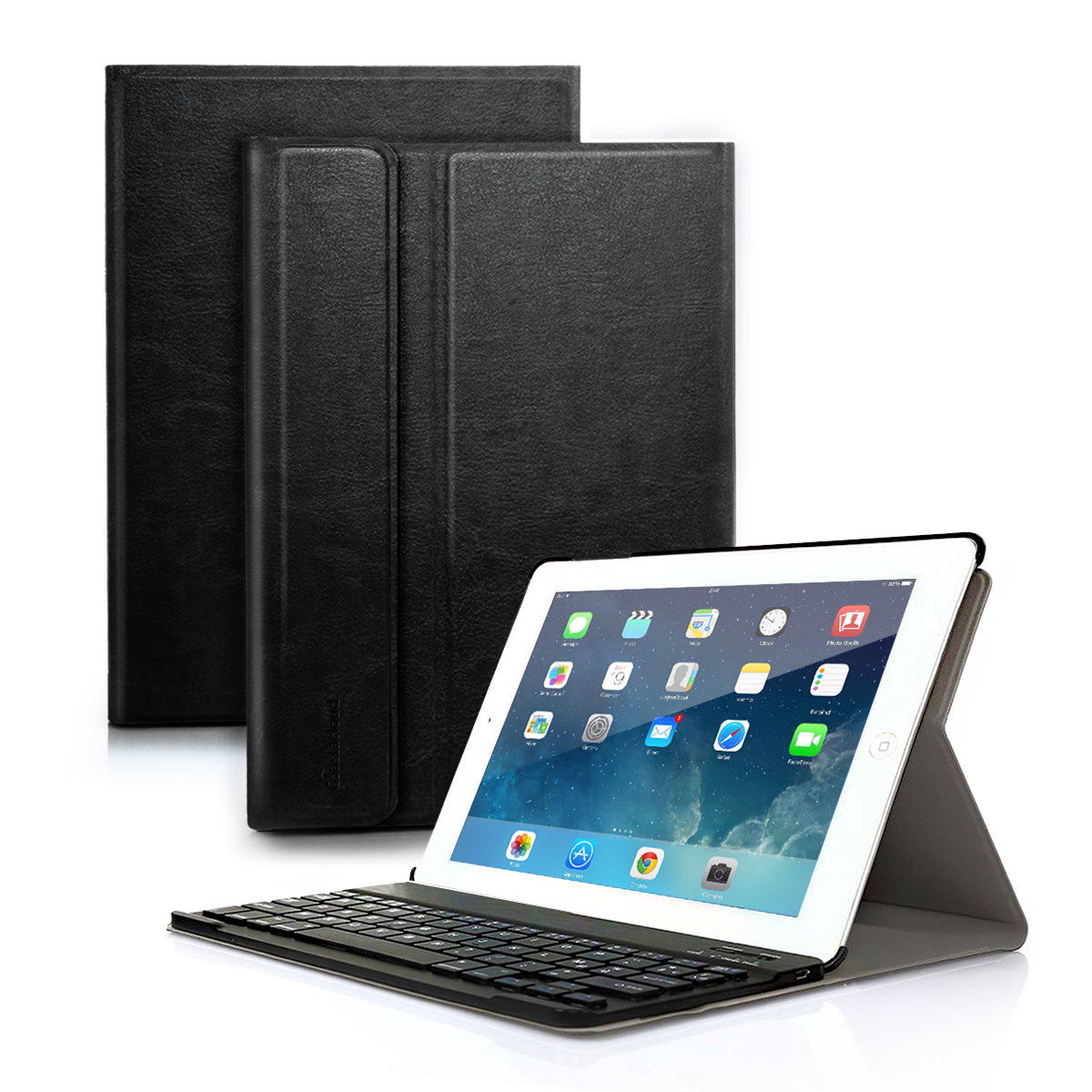 Detachable Bluetooth Keyboard with Anti-Slip Slim Leather Folio Case Cover for Apple iPad Tablet