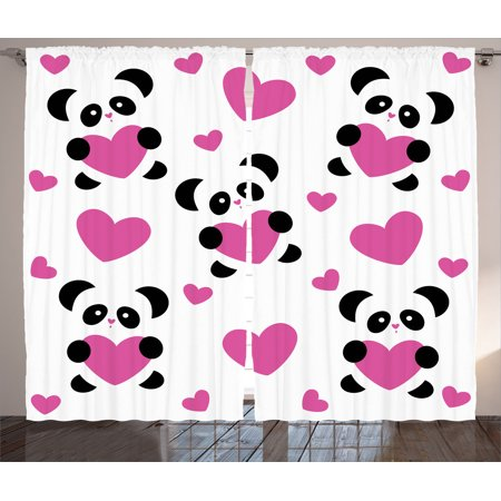 Love Decor Curtains 2 Panels Set, Day Of Love Pandas And Hearts Cute Cartoon Sweet Cheerful Wildlife Fun, Living Room Bedroom Accessories, By - Personalized Love Heart Sweets