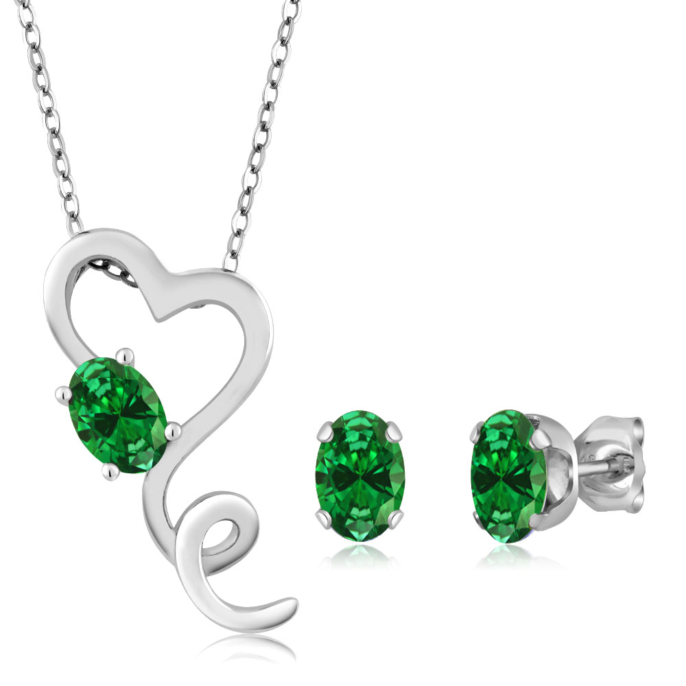 3.20 Ct Simulated Emerald 925 Sterling Silver Heart Pendant Earrings Set 18""