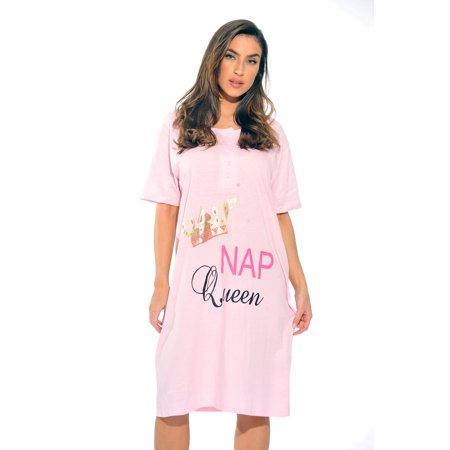 14168e3dab3 Just Love Short Sleeve Screen Print Nightgown   Sleep Dress for Women    Sleepwear (Light Pink - Nap Queen