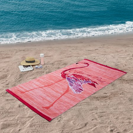 Better Homes & Gardens 100% Cotton Color Me Pink Flamingo Beach Towel