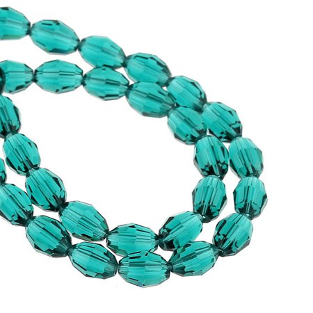 1 Strand Malachite Green Faceted Oval Glass Crystal Loose Beads (Malachite Green Crystal)