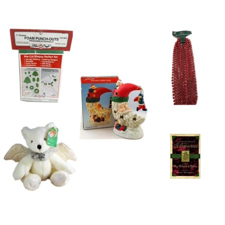 Christmas Fun Gift Bundle [5 Piece] - 11 Shapes Foam Punch-outs Trees/Wreaths/ Holly -  Time Red Beaded Garland 18' Feet - A Treasury of Gifts Santa Moon Porcelain Candle Lamp - Angel Bear  8