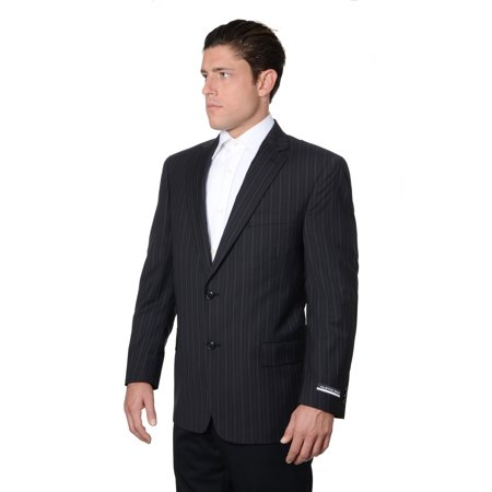 Austin Reed Austin Reed Mens Pure Wool Striped Suit Separate Coat Short Black Walmart Com Walmart Com