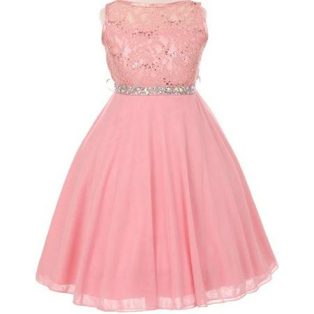 Little Girls Sparkling Sequin Lace Chiffon Flower Girls Dresses Pink 2 (Size 2-18)](Pink Dresses Girls)