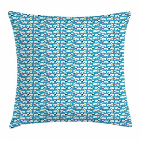Polar Bear Throw Pillow Cushion Cover, Cute Winter Bears with Funny Stripes Polka Dot Scarves Snowflakes Joyful, Decorative Square Accent Pillow Case, 16 X 16 Inches, Blue Multicolor, by Ambesonne (Striped Snowflake)