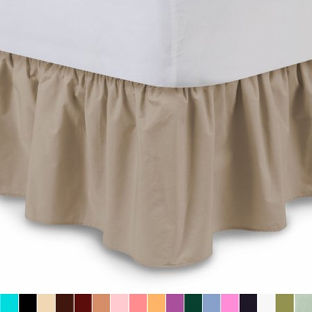 "Harmony Lane Ruffled Bedskirt - Twin, Camel, 18"" Drop Dust Ruffle with Platform"