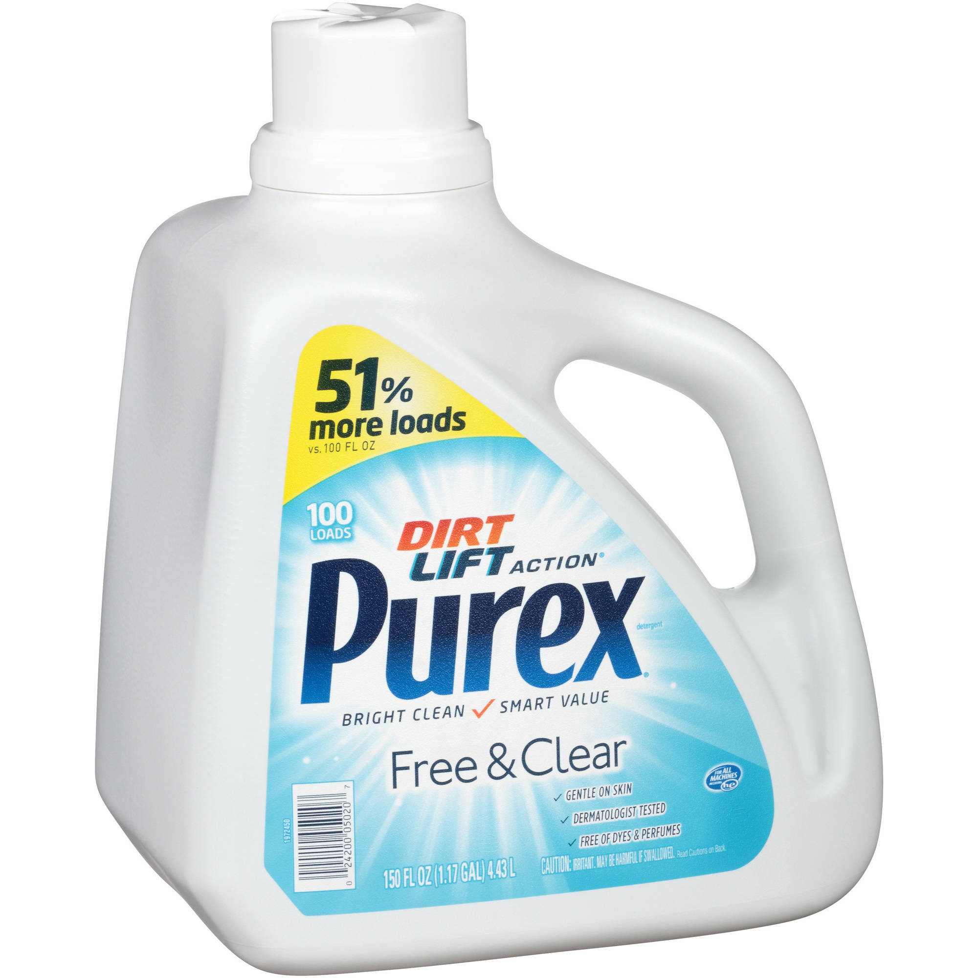 Purex Free & Clear Liquid Laundry Detergent, 100 loads, 150 fl oz