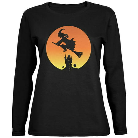 Halloween Witch Sunset Black Womens Long Sleeve T-Shirt (Old Woman Halloween Pics)